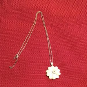 White flower with silver chain necklace